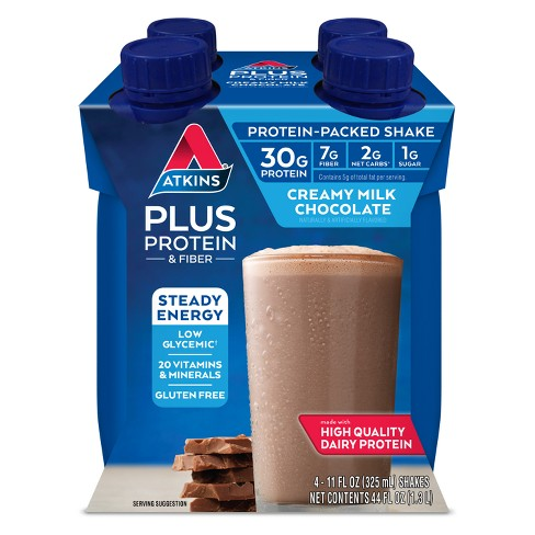 Atkins Protein-Packed Nutritional Shake - Chocolate - 11 fl oz/4ct Bottles - image 1 of 2