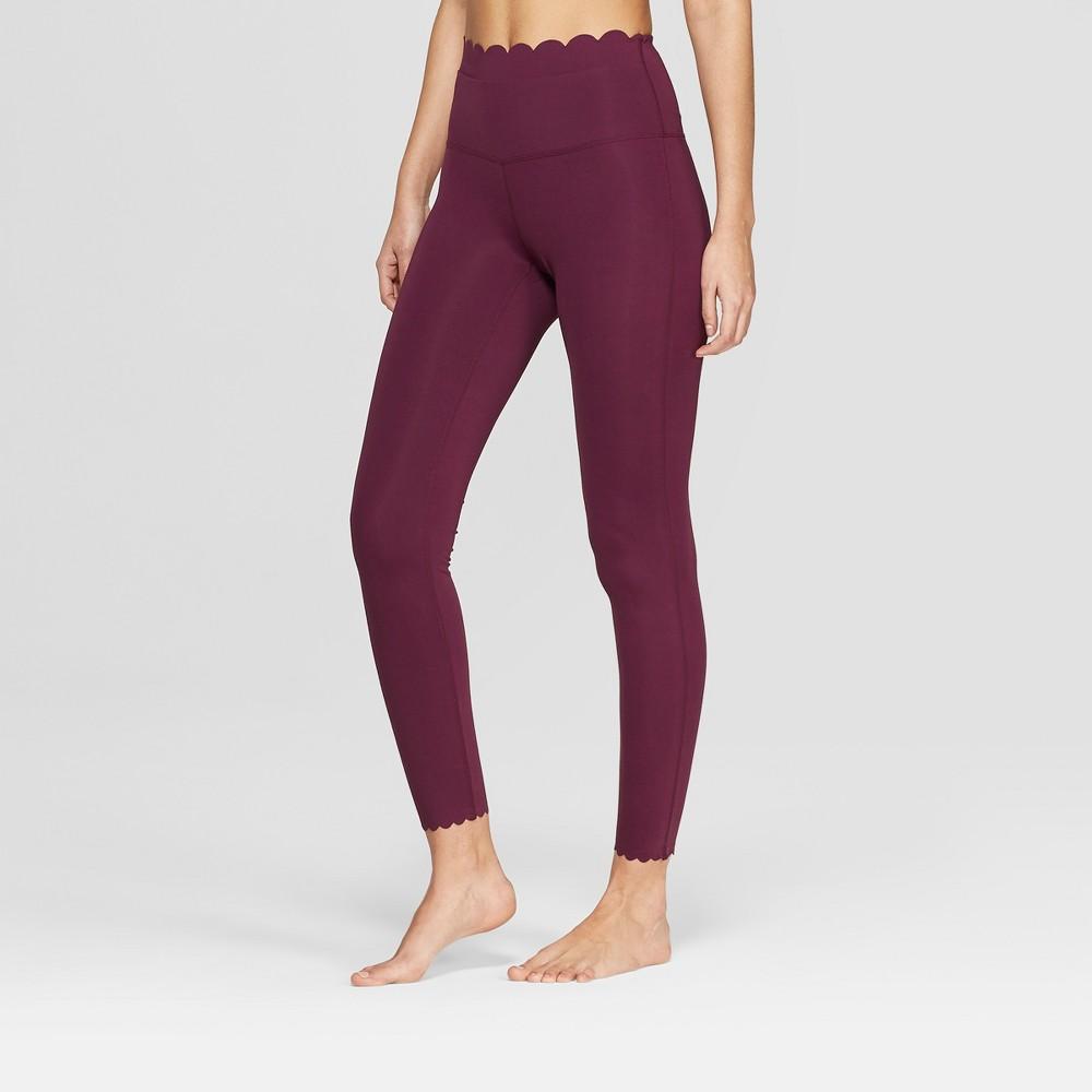 Women's Premium High-Waisted 7/8 Scallop Leggings - JoyLab Plum Purple M