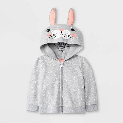 Baby Girls' Critter Polka Dots Bunny Hoodie Sweatshirt - Cat & Jack™ Gray Newborn
