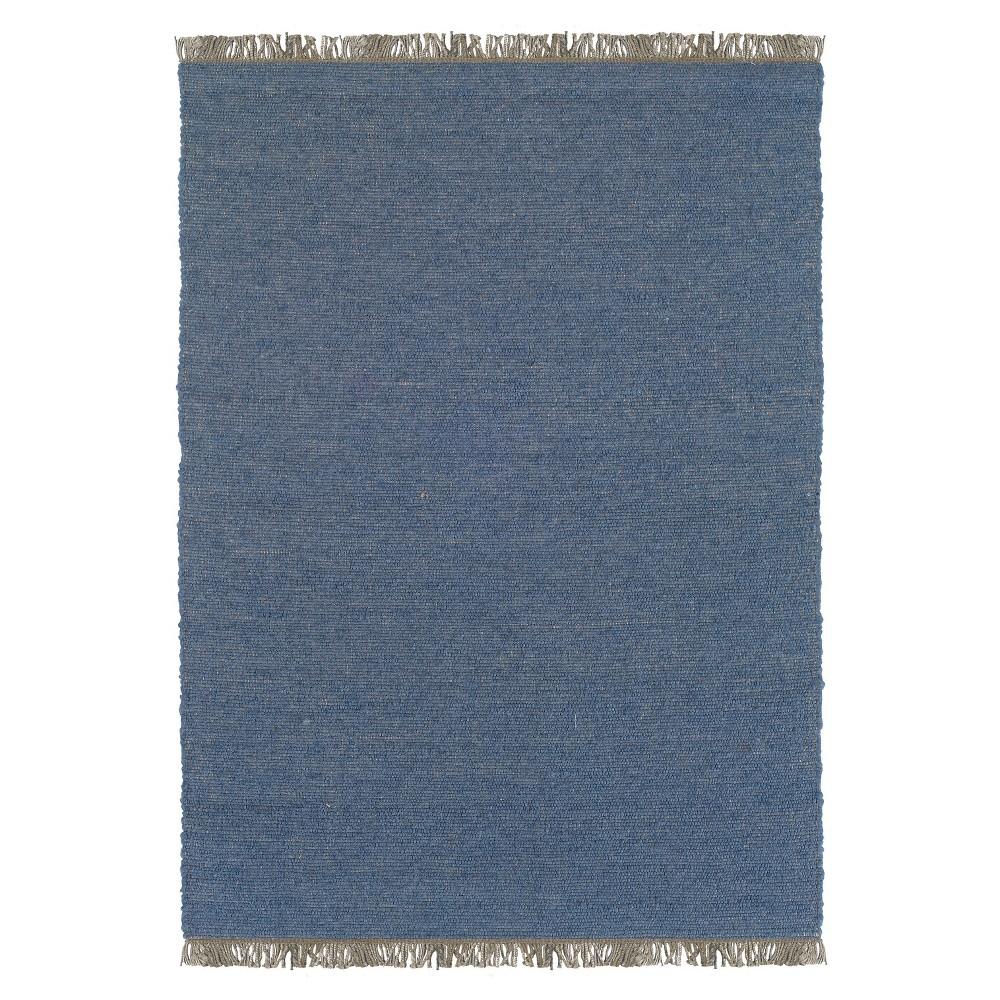 Verginia Berber Reversible Flatweave Area Rug - Denim Blue (7'10
