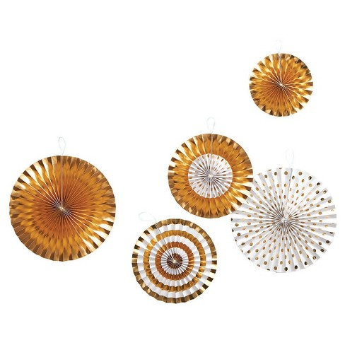 """5ct Paper Fans """"Gold/White"""" - Spritz™ - image 1 of 2"""