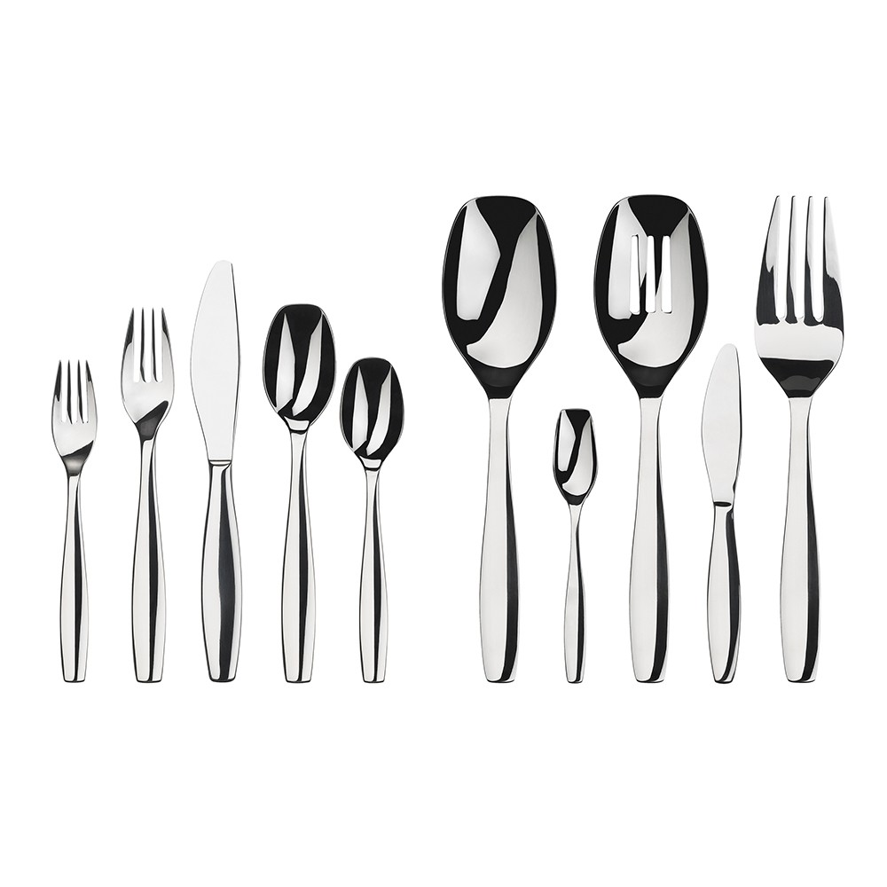 Image of Gourmet Settings 45pc Stainless Steel Cruise Silverware Set, Shiney Silver