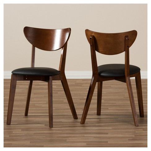 989a5fa6bda Set Of 2 Sumner Mid - Century Faux Leather Dining Chairs - Black ...
