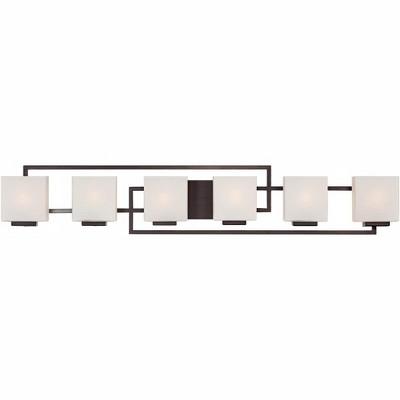 "Possini Euro Design Modern Wall Light Bronze 45"" Opal Glass Vanity Fixture for Bathroom Over Mirror"
