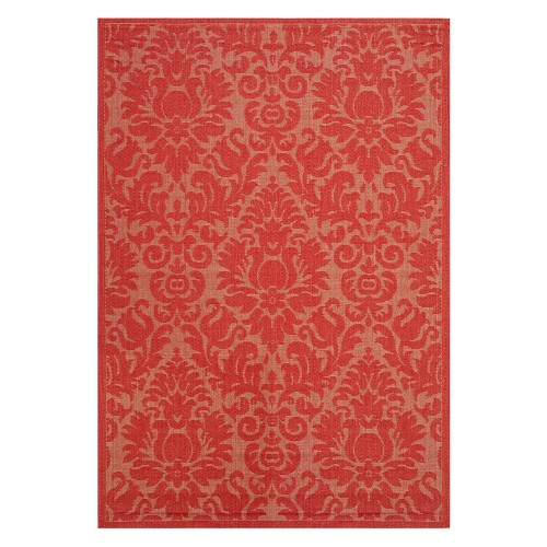 '5'3''X7'7'' Rectangle Dorchester Damask Outdoor Rug Red - Safavieh, Size: 5'3'' X 7'7'''