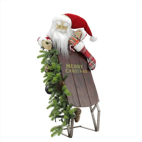 """Northlight 26"""" Battery Operated Lighted Musical Santa Claus with Sleigh Christmas Decoration - image 1 of 1"""