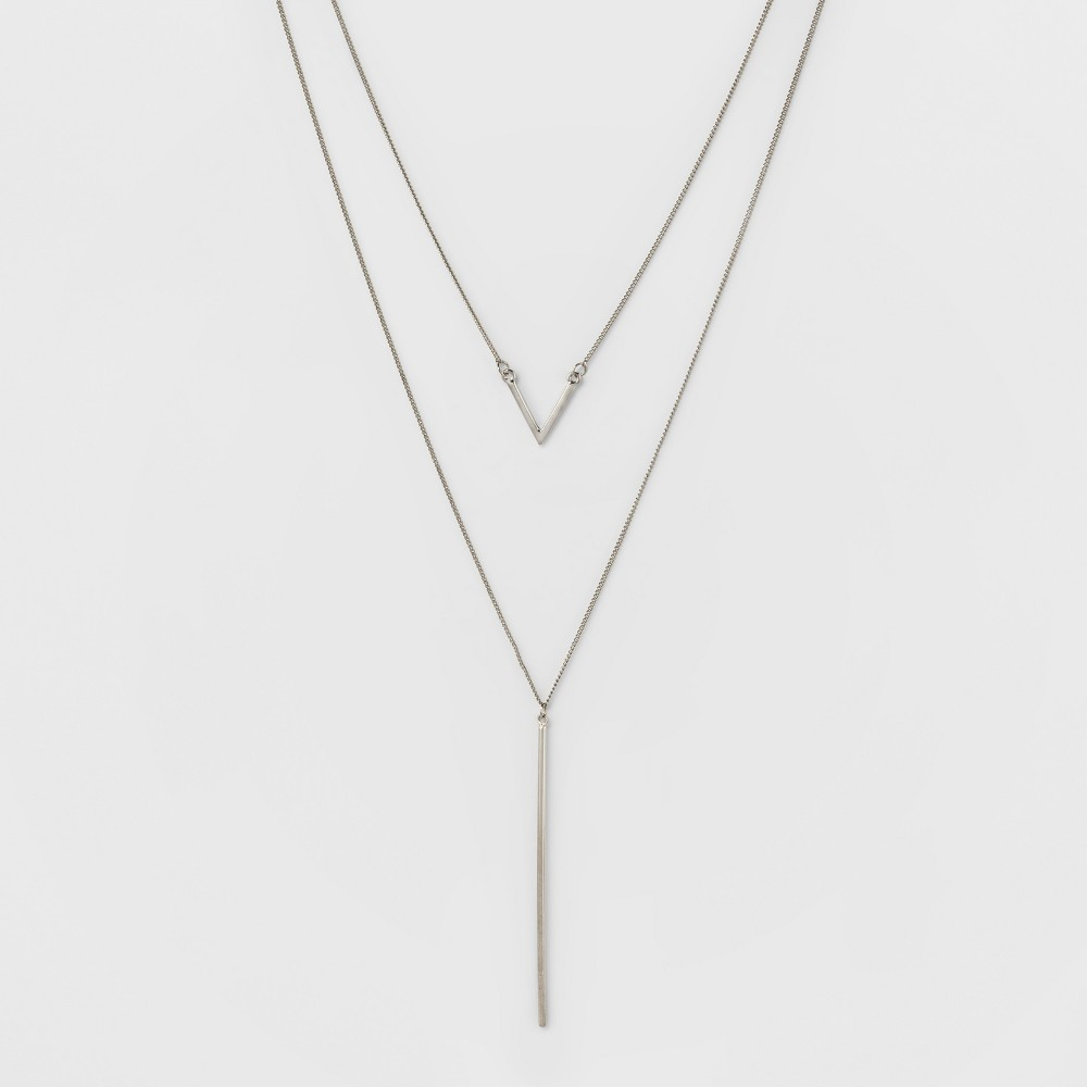 Bar & Linear Bar Two Row Long Necklace - A New Day Silver