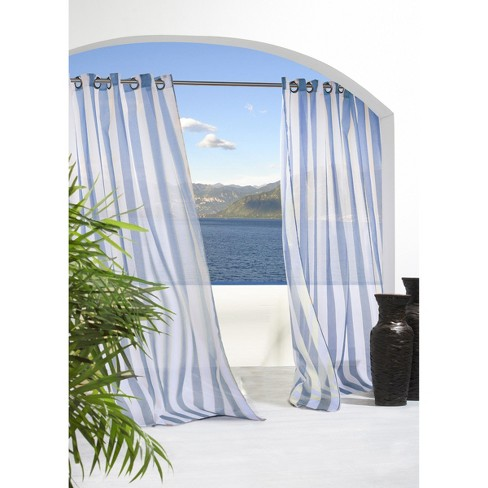 Outdoor Dcor Escape Stripe Indoor Outdoor Grommet Top Sheer Curtain