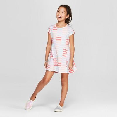 a5c73b024785 Girls  Short Sleeve Stripe A Line Dress - Cat   Jack™ White