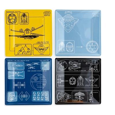 Seven20 Star Wars Melamine Plate Set - 4 Pieces - Vehicle Schematics
