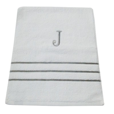 Monogram Hand Towel J - White/Skyline Gray - Fieldcrest®