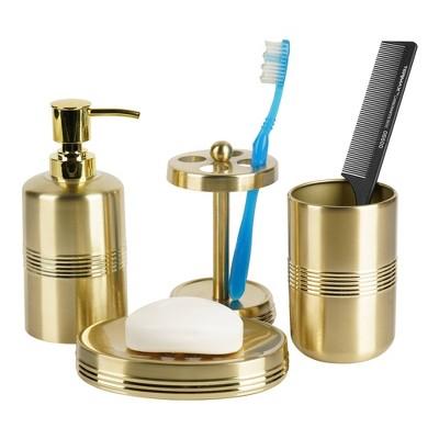 4pc Jewel Metal Bath Accessory Set for Vanity Counter Tops Gold - Nu Steel