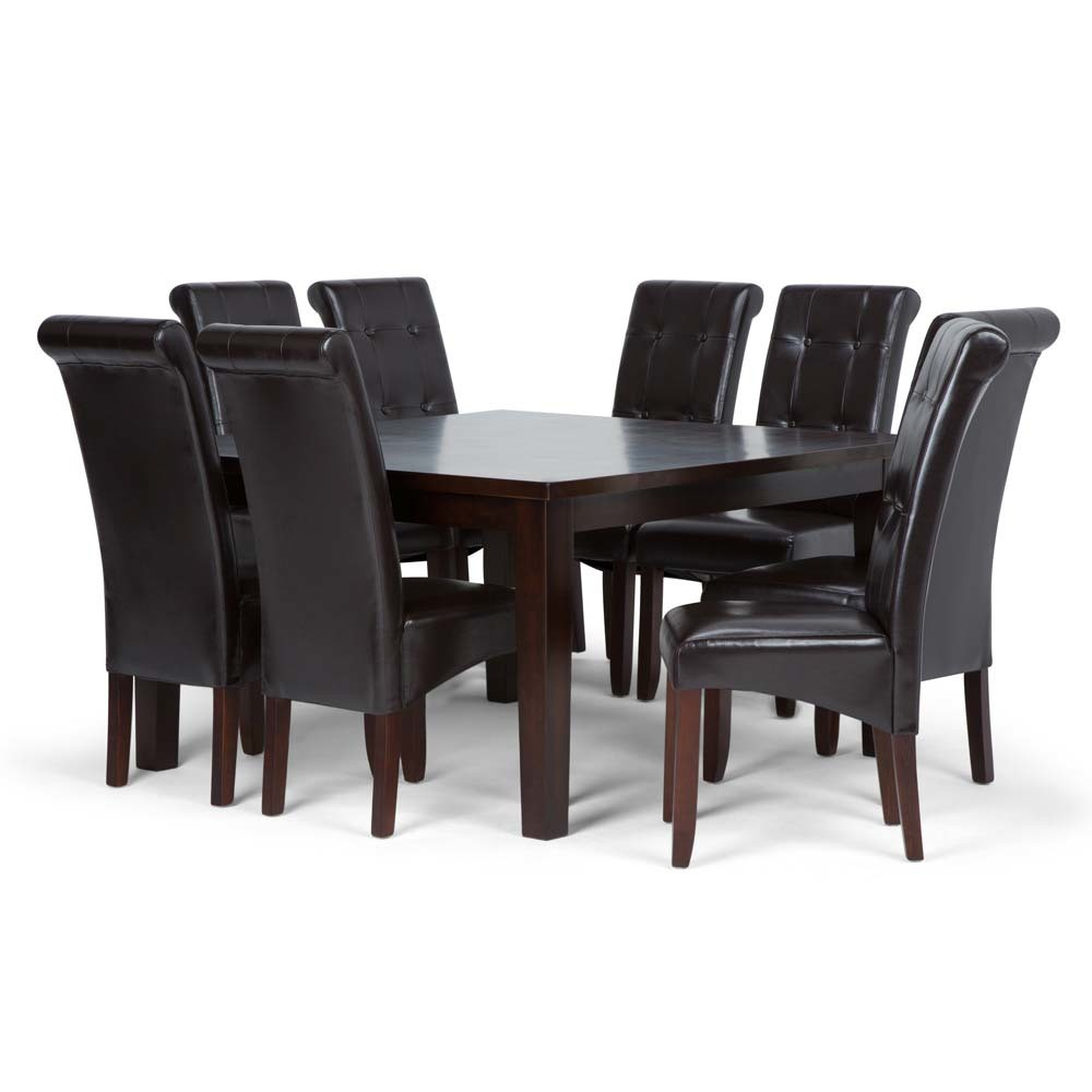 Essex Solid Hardwood 9pc Dining Set Tanners Brown - Wyndenhall