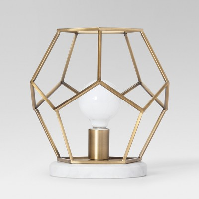 Geometric with Marble Accent Lamp Brass Includes Energy Efficient Light Bulb - Project 62™