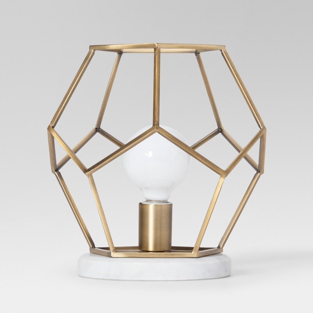 Best Sale Geometric With Marble Accent Lamp Brass Includes Energy Efficient Light Bulb Project 62 Blue Gold