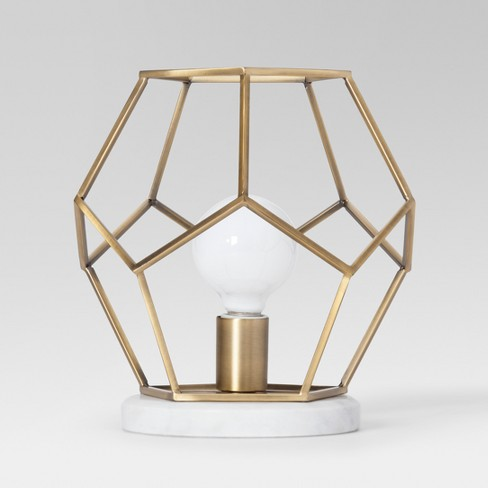 Geometric With Marble Accent Lamp Brass Includes Energy