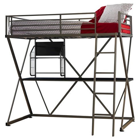 Zachary Loft Bed Pewter - Powell Company - image 1 of 2