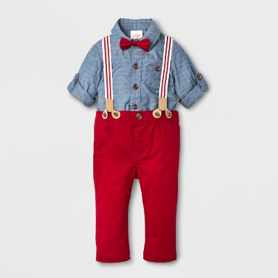Baby Boys' 2-Piece Jacquard Shirt, Bowtie and Pants with Suspenders - Cat & Jack™ Denim/ Red 6-9 M