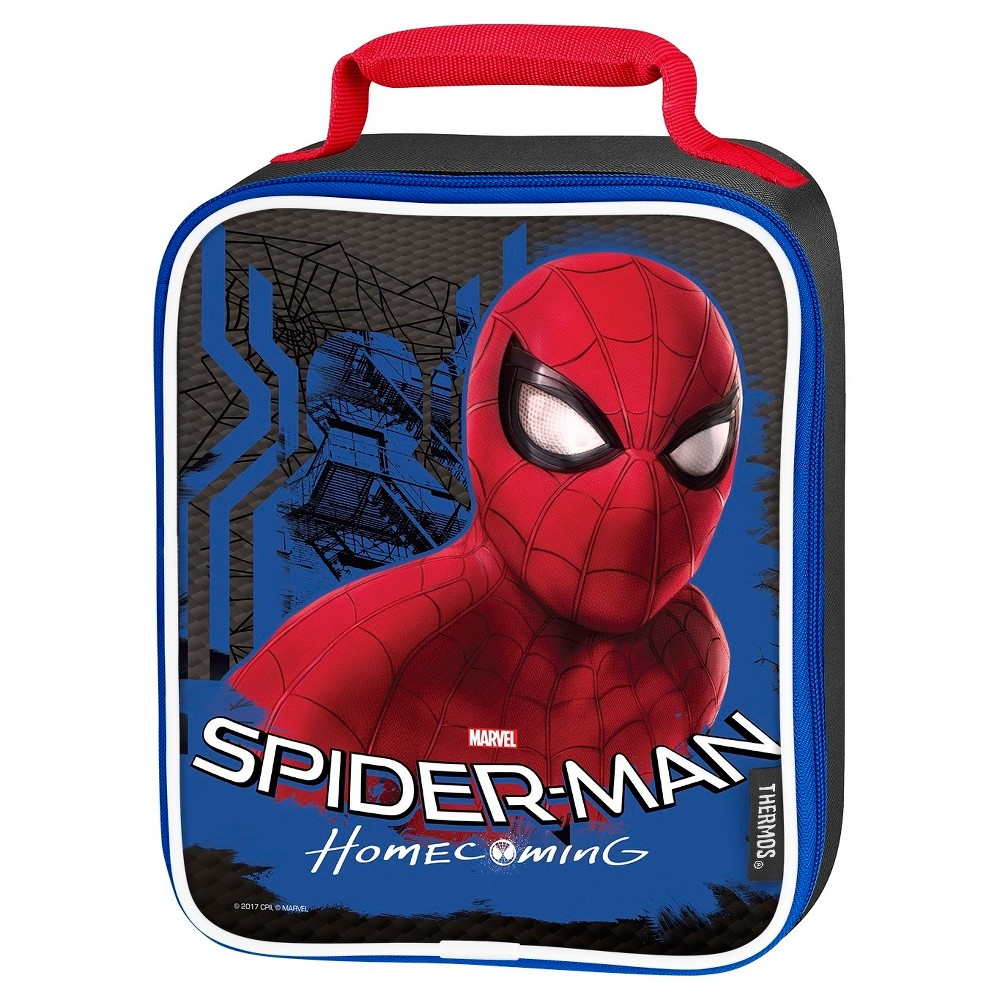 Thermos Spider-Man: Homecoming Soft Upright Lunch Box, Red Blue This soft upright lunch kit from Geniune Thermos Brand is a great choice for kids to take their lunch to school. Decorated with brightly colored and detailed graphics, this lunch kit features a comfortable, padded carrying handle and premium foam insulation to keep lunches cooler and fresher. Color: Red Blue. Pattern: Superheroes.