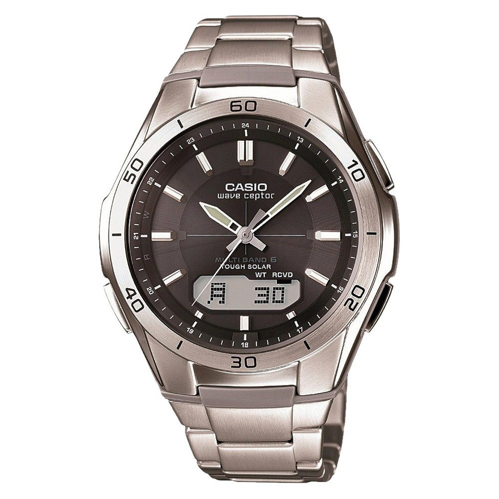 Men's Casio Waveceptor Solar Atomic Ana-Digi Watch - Silver (WVAM640D-1A)