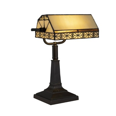 Tiffany Style Bankers Lamp Stained Glass (Includes LED Light Bulb)