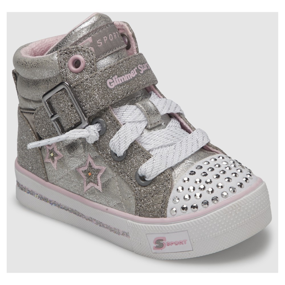 Toddler Girls' S Sport By Skechers Splay High Top Sneakers - Silver 7, Silver White