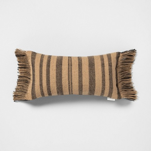 Outdoor Pillow Stripe Black / Natural - Hearth & Hand™ with Magnolia - image 1 of 3