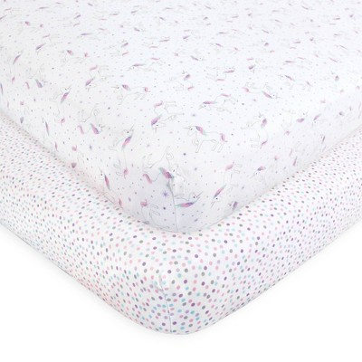 Hudson Baby Unisex Baby Cotton Fitted Crib Sheet - Magical Unicorn One Size