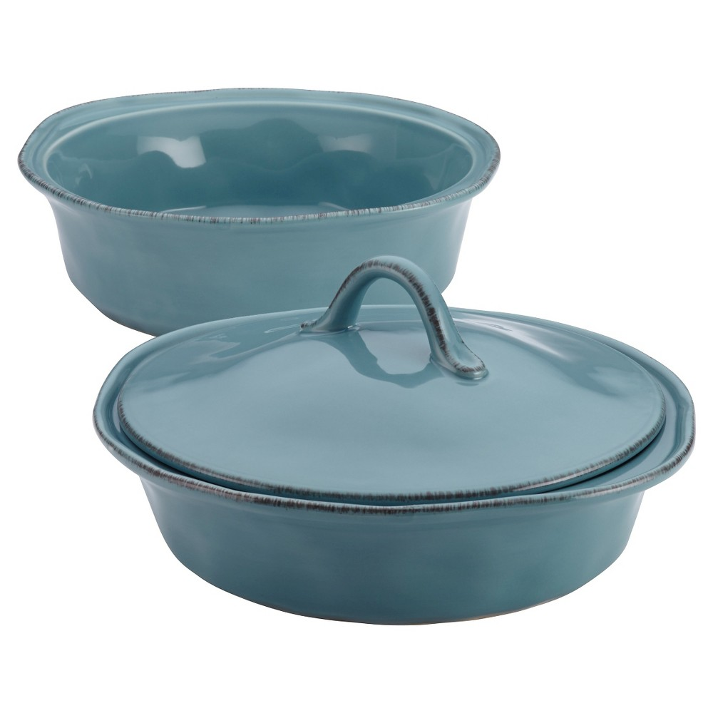 Rachael Ray Cucina Stoneware Set of 2 Round Casserole with Shared Lid - Blue (1.5 qt and 2qt)