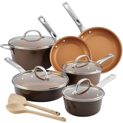 Ayesha Curry 12pc Aluminum Cookware Set Brown