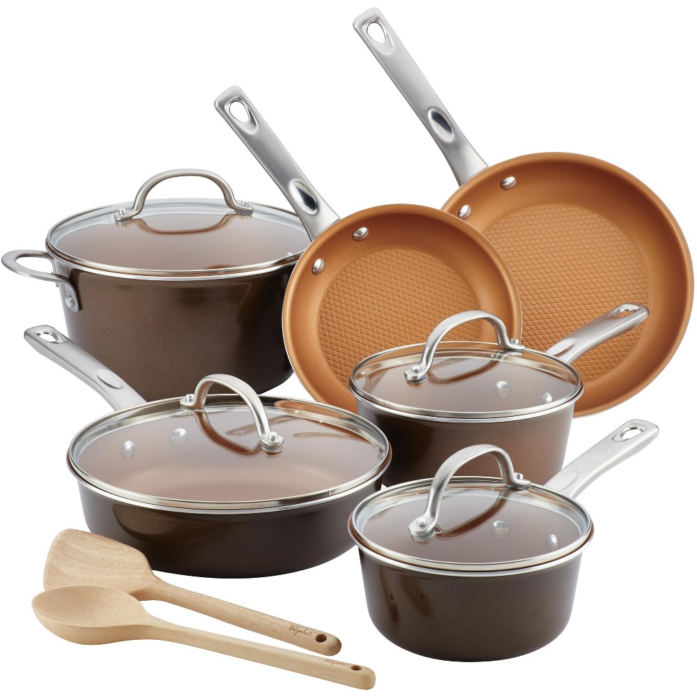 Image of Ayesha Curry 12pc Aluminum Cookware Set Brown, Brown Sugar