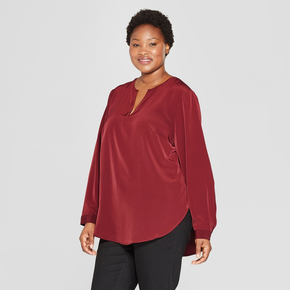 Women's Plus Size Long Sleeve Woven Popover - Ava & Viv Burgundy (Red) X