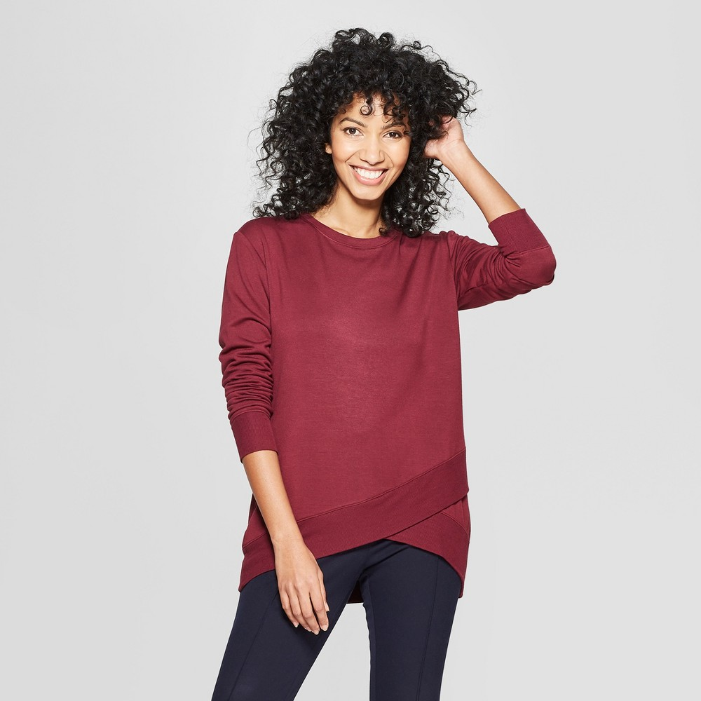Women's Long Sleeve Cross-Front Pullover - A New Day Burgundy (Red) M