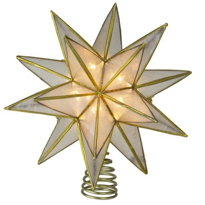 "Kurt S. Adler 10"" Lighted Gold and Clear Capiz Star Christmas Tree Topper - Clear Lights"