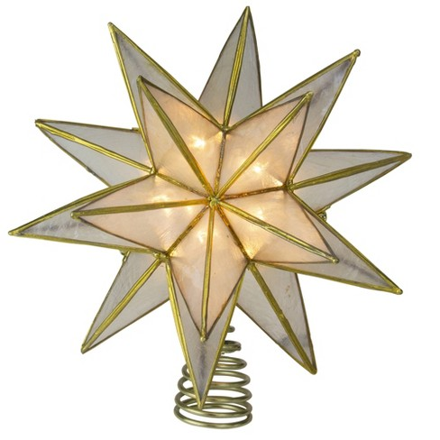 Kurt S Adler 10 Lighted Gold And Clear Capiz Star Christmas Tree Topper Clear Lights Target