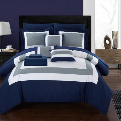 King 10pc Darren Bed In A Bag Comforter Set Navy - Chic Home Design