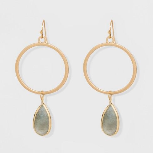 Open Circle With Tear Drop Stone Charm Earrings Universal Thread Gold