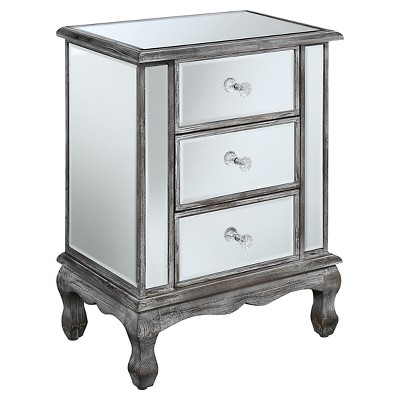Gold Coast Vineyard 3 Drawer Mirrored End Table Weathered Gray/Mirror - Breighton Home