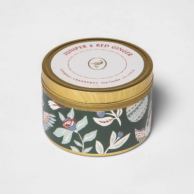 4.8oz Lidded Tin Jar Juniper and Red Ginger Candle - Opalhouse™