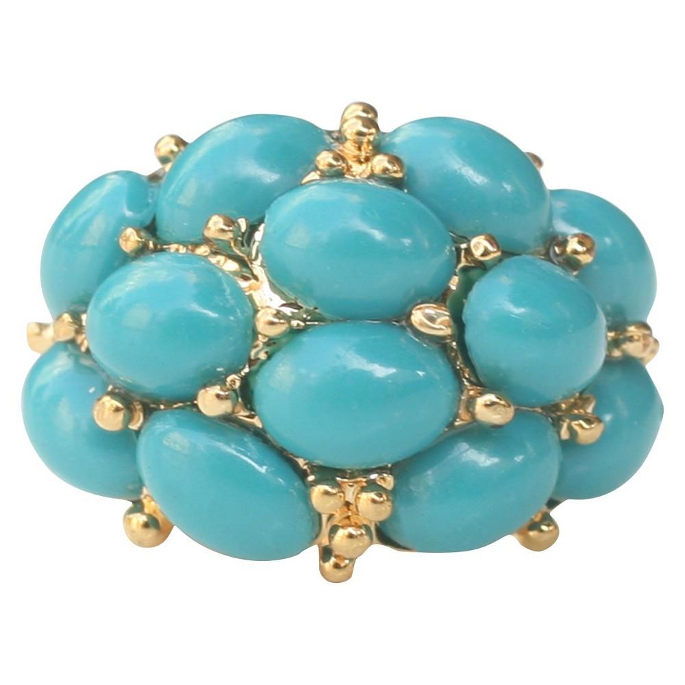 Zirconite Cabochon Stone Ring Turquoise - Size 5