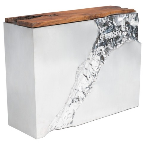 Modern Teak Wood Console Table - Natural, Stainless Steel - Zm Home - image 1 of 9