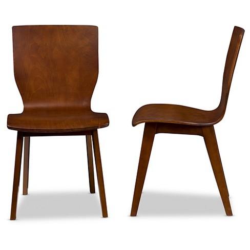 Elsa Mid Century Modern Scandinavian Style Dark Walnut Bent Wood Dining Chairs Set Of 2 Baxton Studio Target