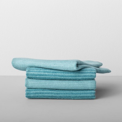 4pk Striped Barmop Towels Aqua - Made By Design™