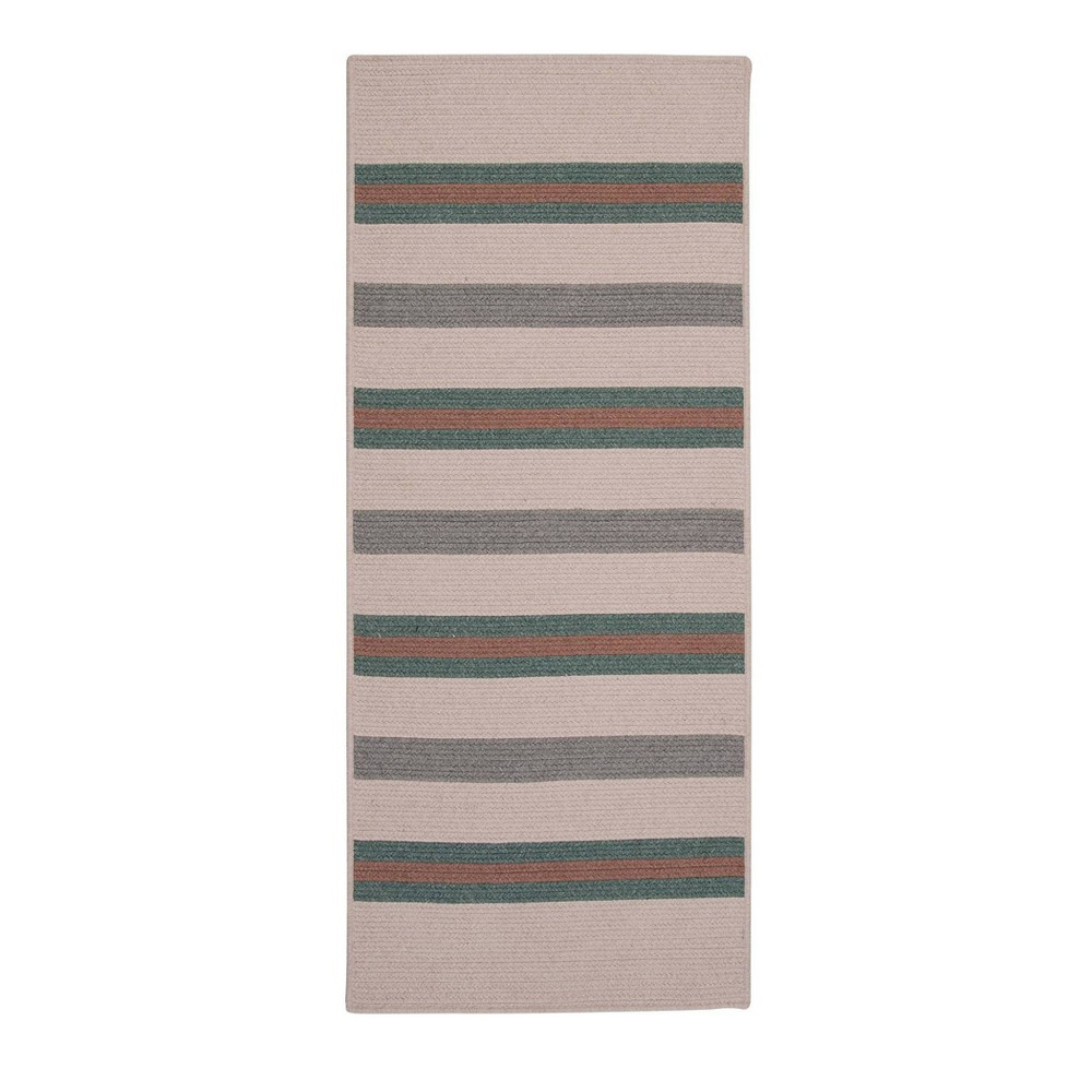 2 39 x12 39 Uptown Stripe Braided Area Rug Green Colonial Mills