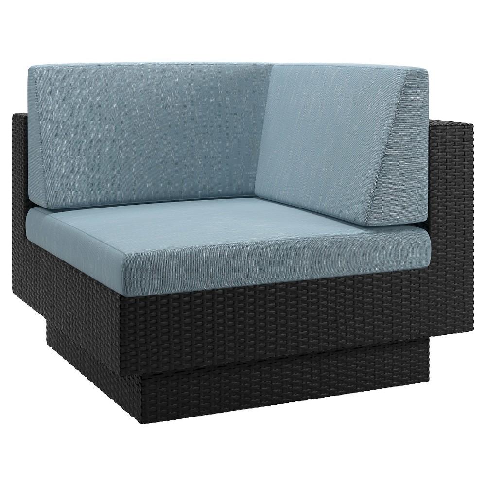 CorLiving Park Terrace Patio Corner Seat - Textured Black Weave/ Teal