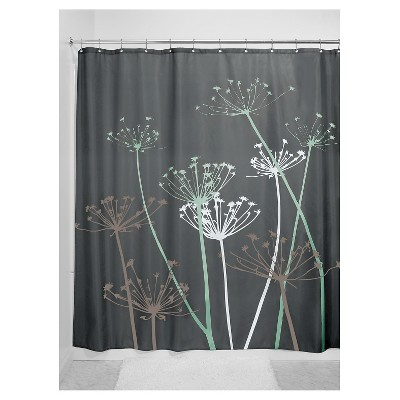 Shower Curtain Interdesign Floral Gray Mint