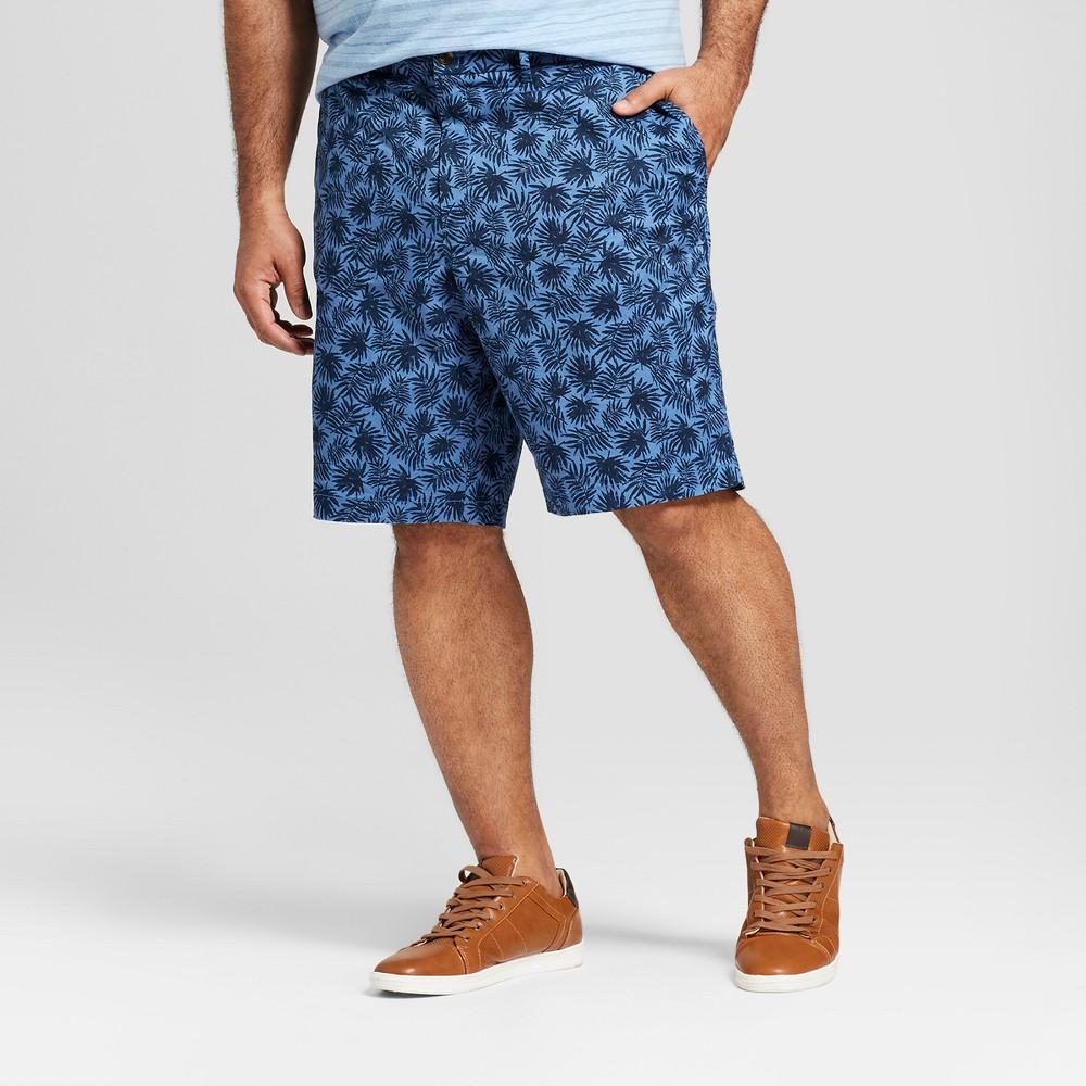 Men's Big & Tall 10.5 Floral Linden Flat Front Shorts - Goodfellow & Co Blue Floral 58, Xavier Navy