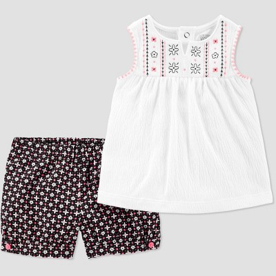 Baby Girls' 2pc Sleeveless Tunic Top and Bottom Set - Just One You® made by carter's White/Black 18M