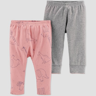Little Planet Organic by Carters Baby Girls' 2pk Animal Pants - Pink Newborn