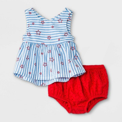 Baby Girls' Americana Eyelet Top & Bottom Set - Cat & Jack™ Blue 0-3M